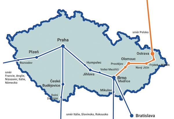 Mapa svozových tras
